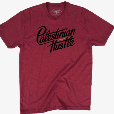 Cardinal Red T-Shirt with Black Letters | Palestinian Hustle | Clothing to Spread Love, Help Others & Always Hustle