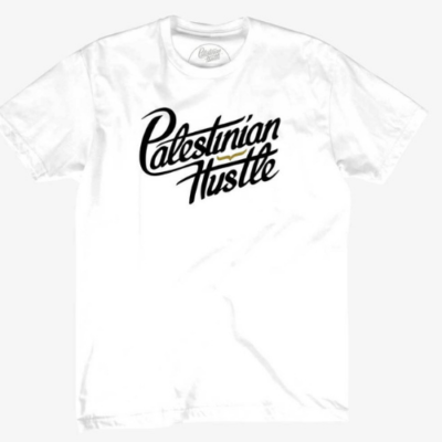 White T-Shirt with Black Letters | Palestinian Hustle | Clothing to Spread Love, Help Others & Always Hustle