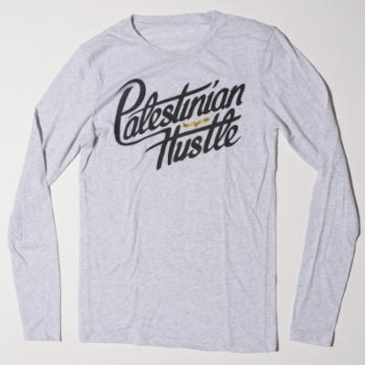 Long Sleeve & Hoodie | Palestinian Hustle Heathered White Long Sleeve T-Shirt