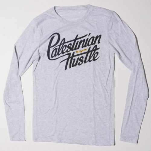 Long Sleeve & Hoodie | Palestinian Hustle Heathered White Long Sleeve T-Shirt