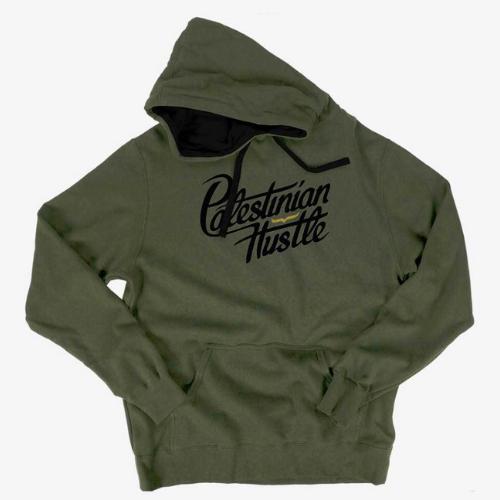 Long Sleeve & Hoodie | Palestinian Hustle Black On Green Hoodie | Clothing to Spread Love, Help Others & Always Hustle