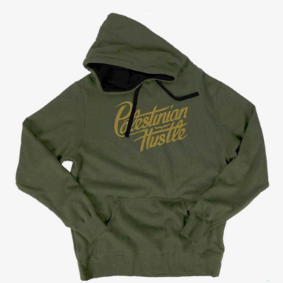 Long Sleeve & Hoodie | Palestinian Hustle Yellow On Green Hoodie | Clothing to Spread Love, Help Others & Always Hustle