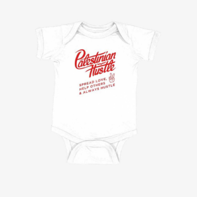 White Palestinian Hustle Onesie | Palestinian Hustle | Spread Love, Help Others & Always Hustle