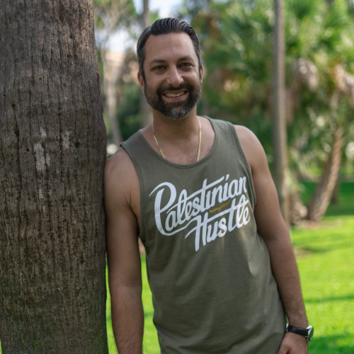 Military Green Palestinian Hustle Unisex Tank Top | Palestinian Hustle | Spread Love, Help Others & Always Hustle