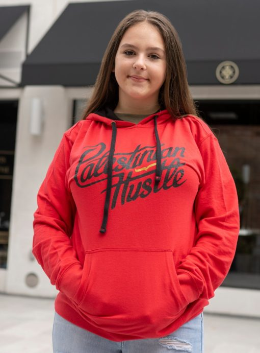 French Terry Pullover Hoodie Line | Red Hoodie | Palestinian Hustle